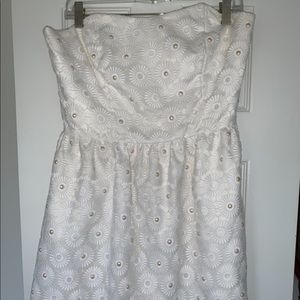Strapless lily pulitzer white pearl dress